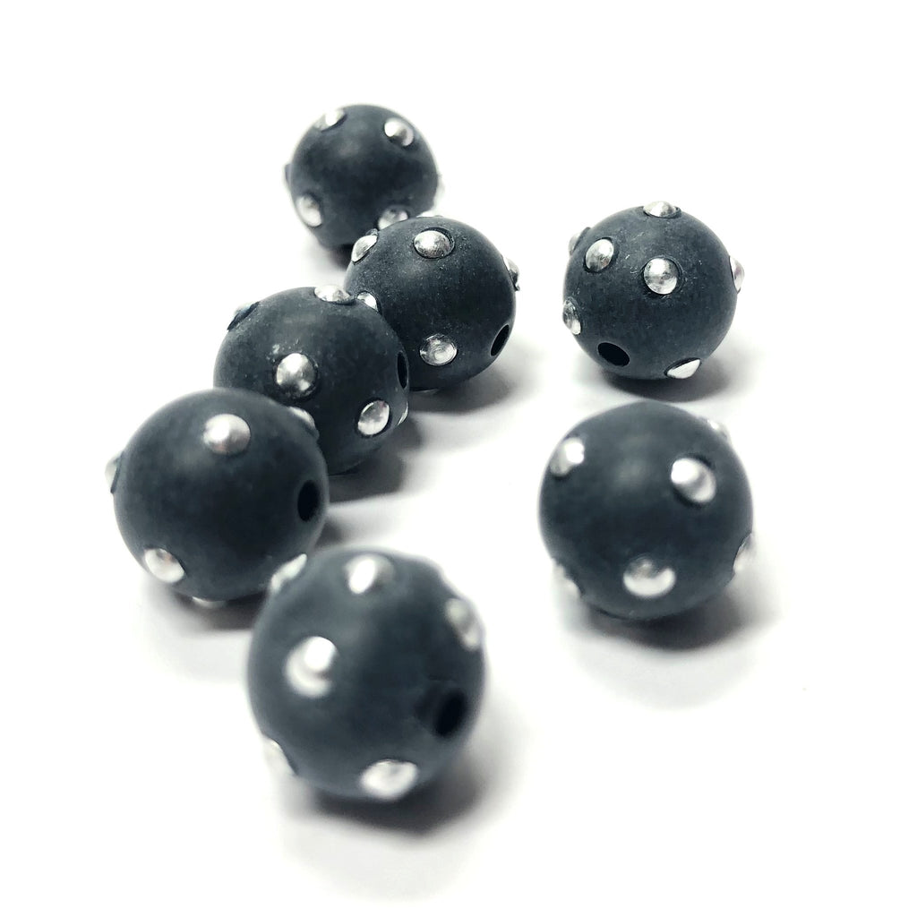 "10MM Black/Silver ""Studded"" Beads (12 pieces)"