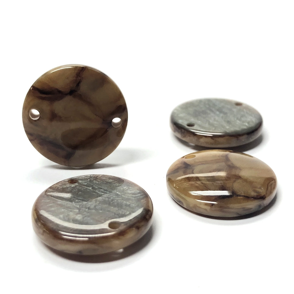 "13MM ""Scilla"" Brown 2-Hole Round Disc (12 pieces)"