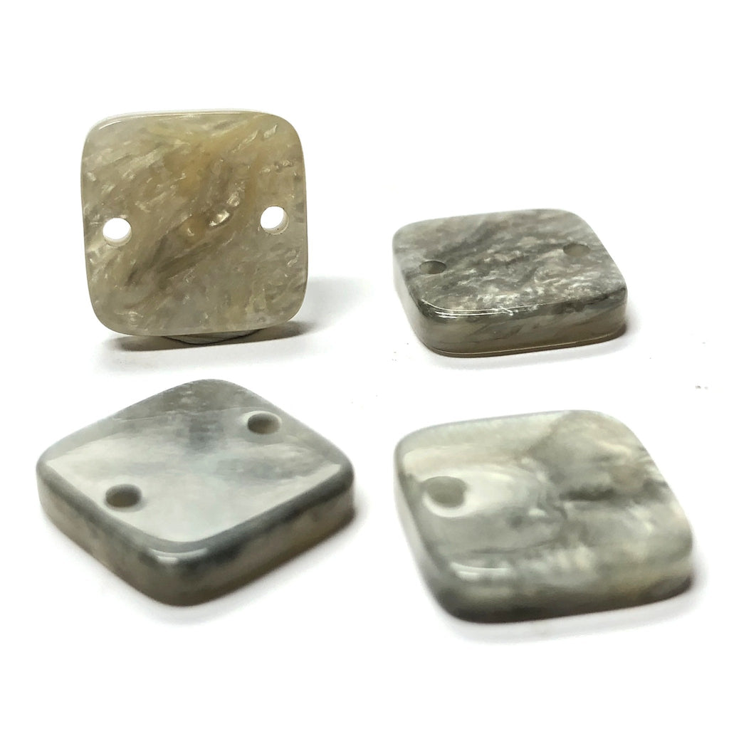 "17MM ""Scilla"" Grey 2-Hole Square (12 pieces)"