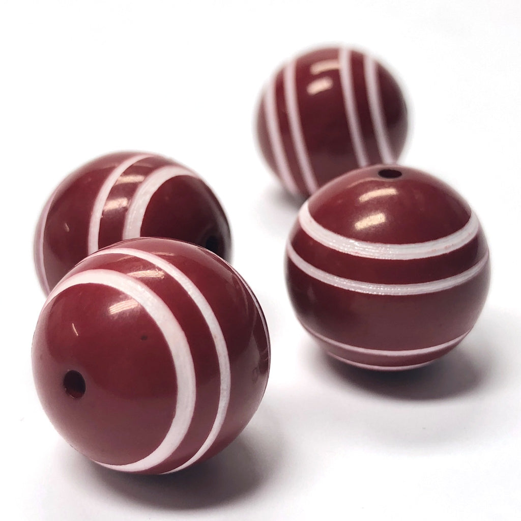 "28MM Red w/""The White Stripes"" Bead (3 pieces)"