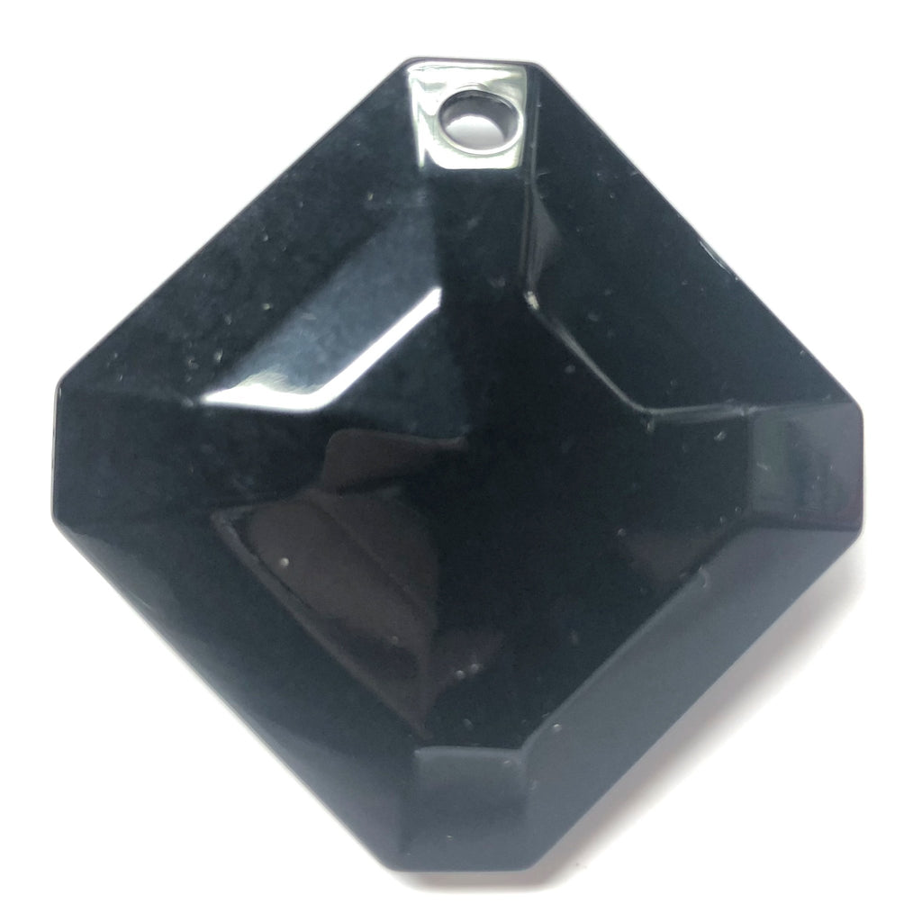 52X52MM Black Faceted Diamond Drop (1 piece)