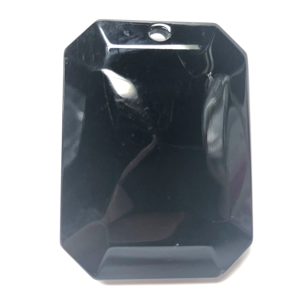 40X55MM Black Faceted Octagon Drop (1 piece)