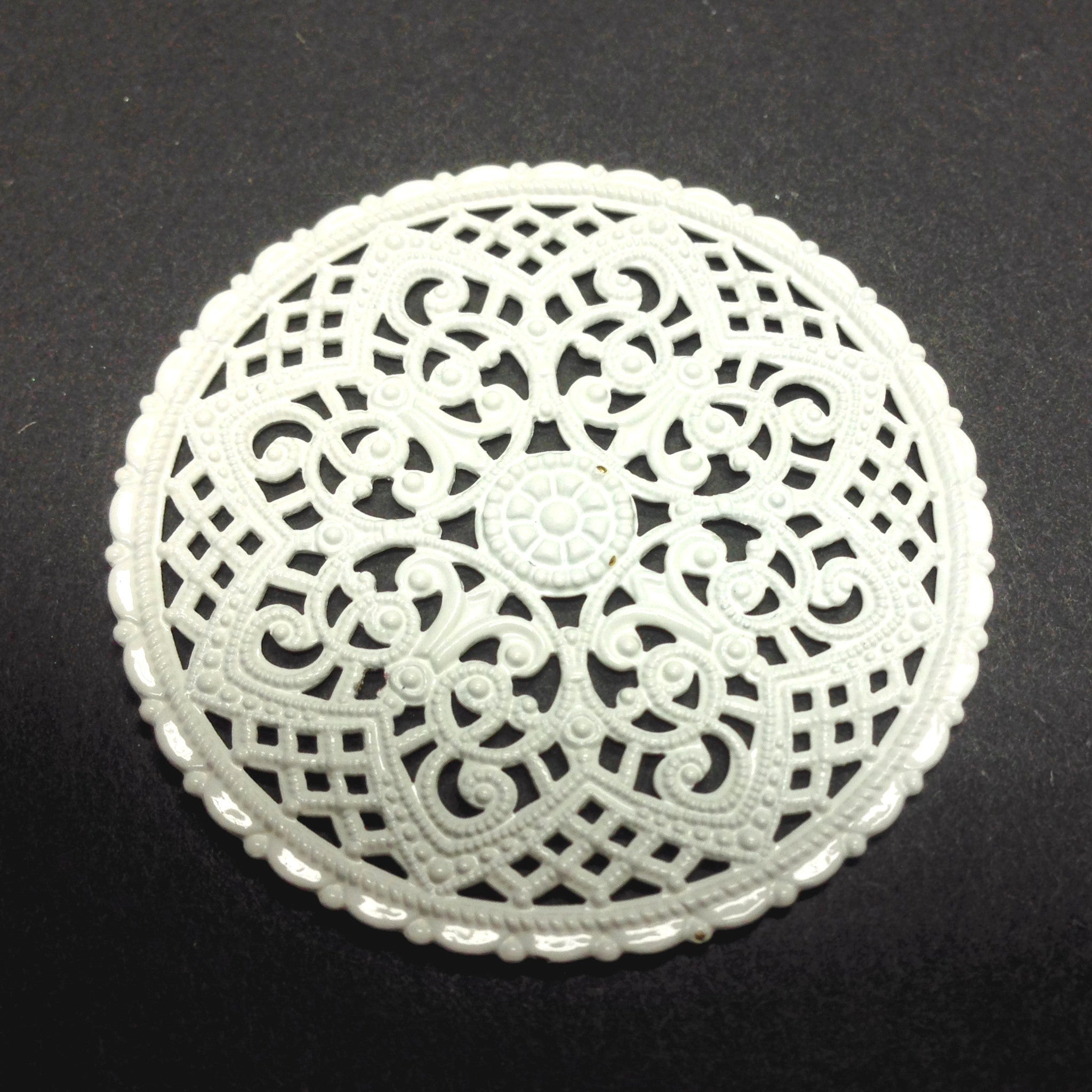 White Lacquered Brass Filigree 40MM Disc (1 piece)