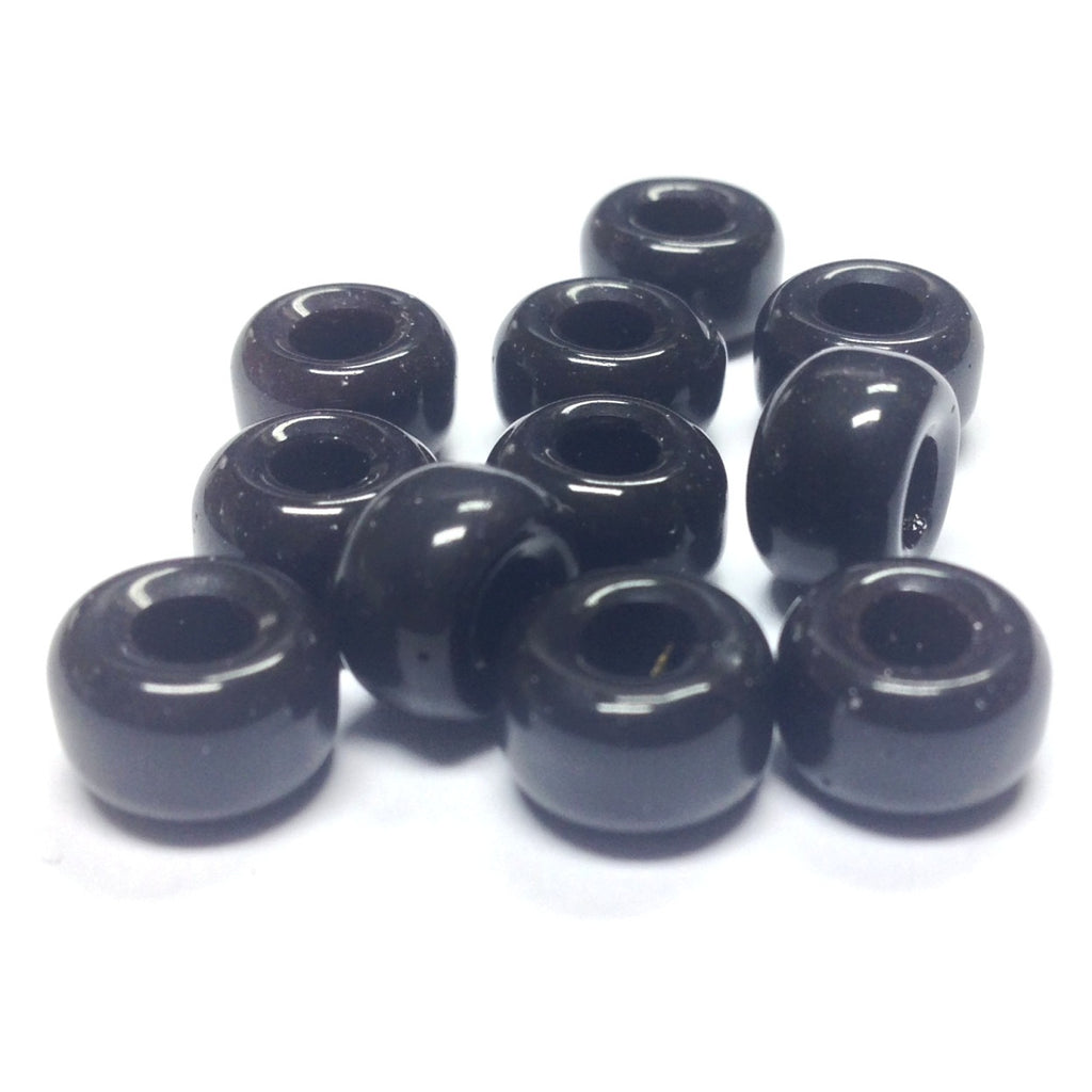 Black Glass Pony Bead (144 pieces)