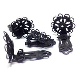 17MM Black Plated Brass Filigree Earclip (4 pieces)