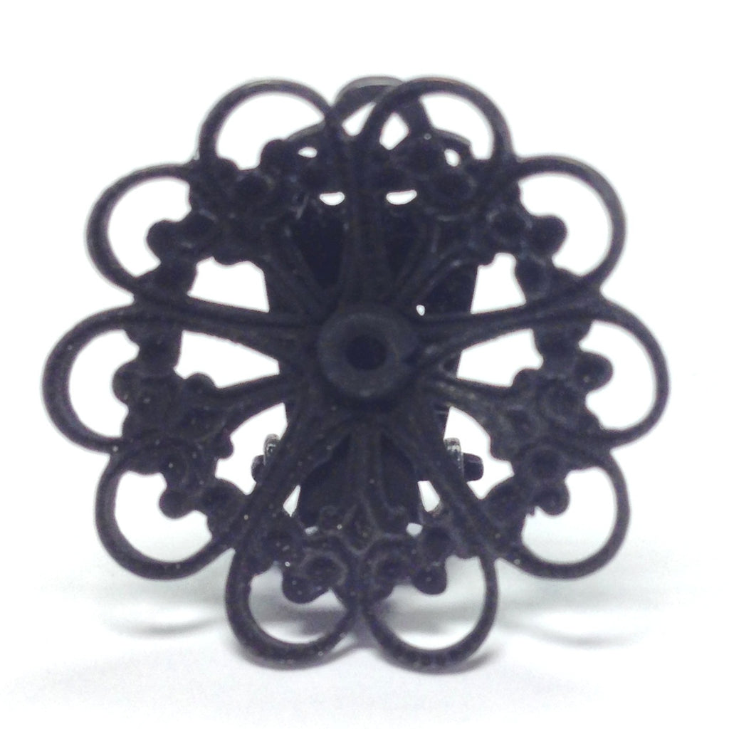 23MM Black Plated Brass Filigree Earclip (4 pieces)
