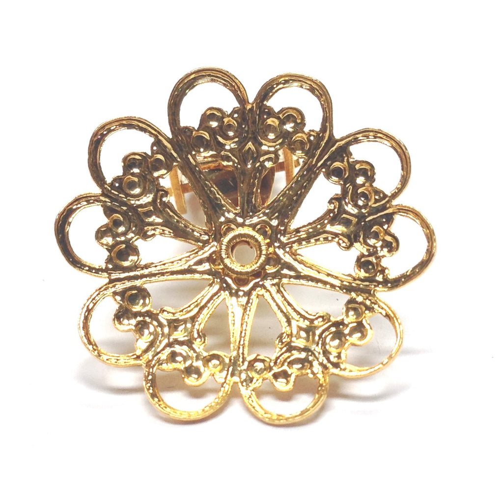 23MM Goldtone Brass Filigree Earclip (4 pieces)