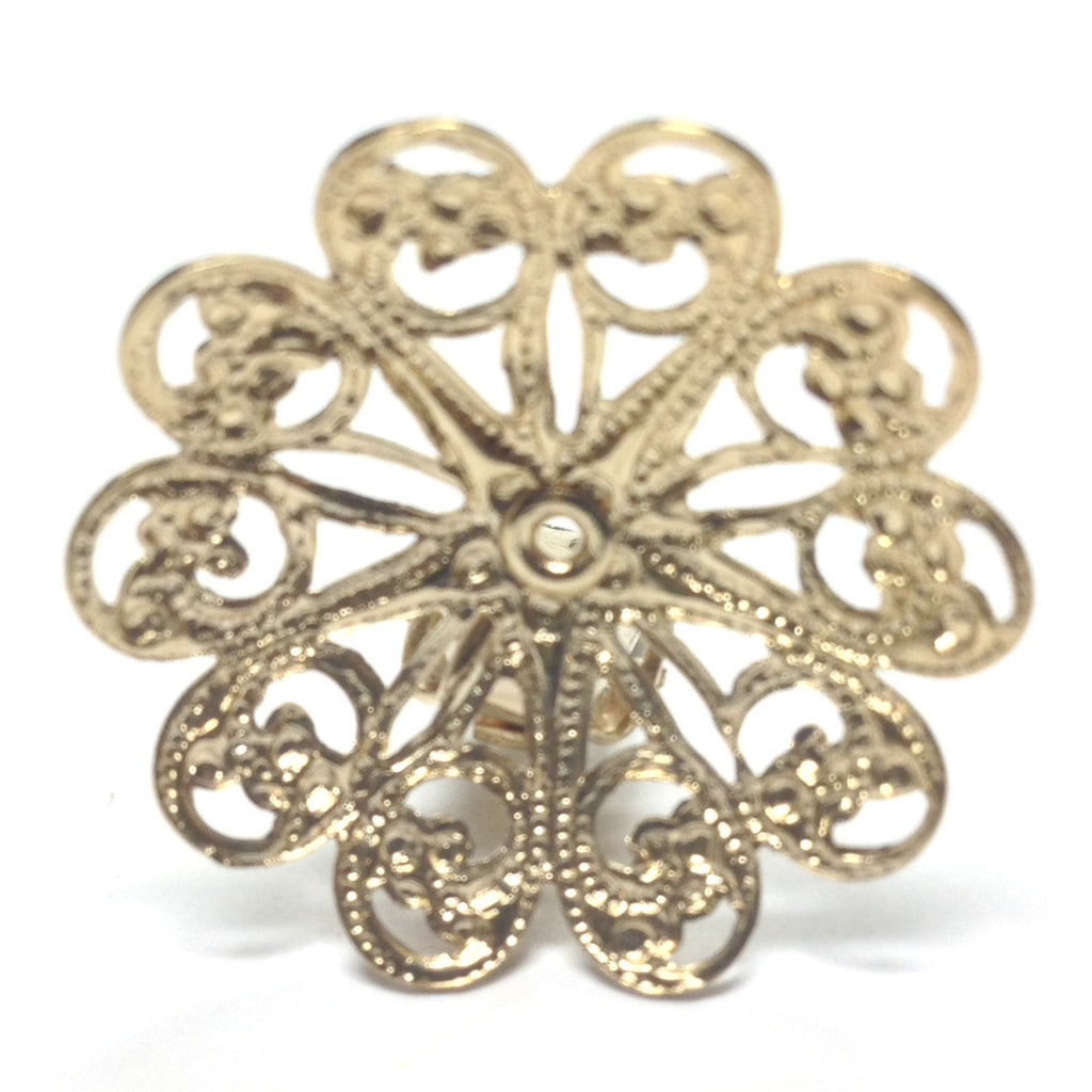 27MM Goldtone Brass Filigree Earclip (4 pieces)