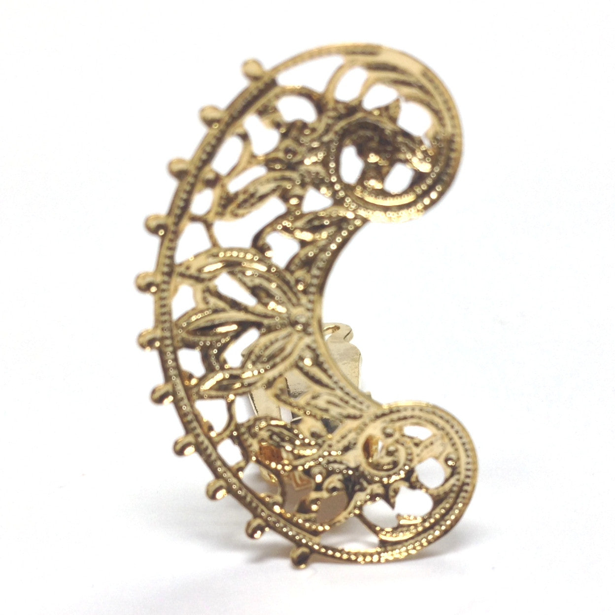 30MM Gold Brass Filigree C Earclip (4 pieces)