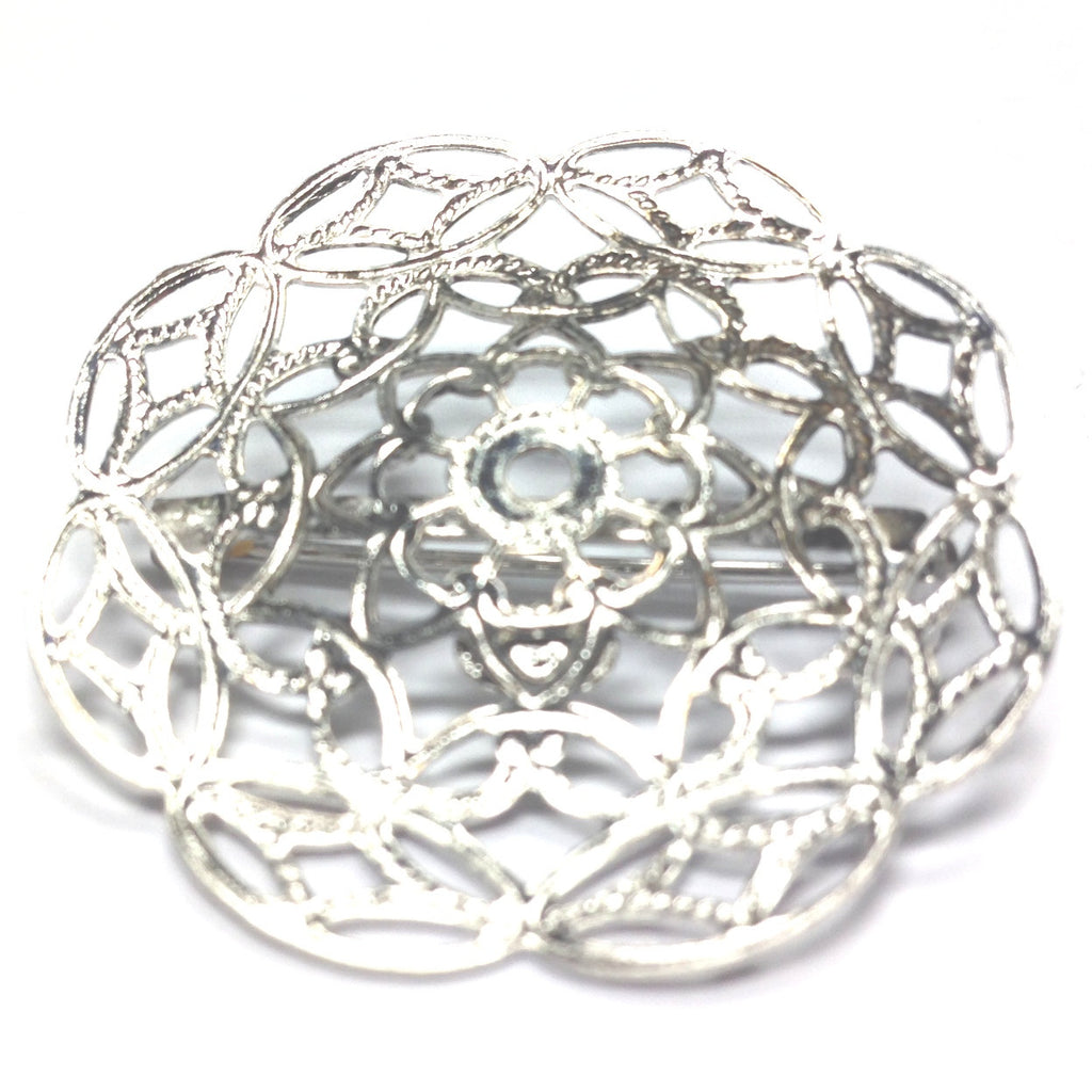 35MM Silvertone Filigree Pin (2 pieces)
