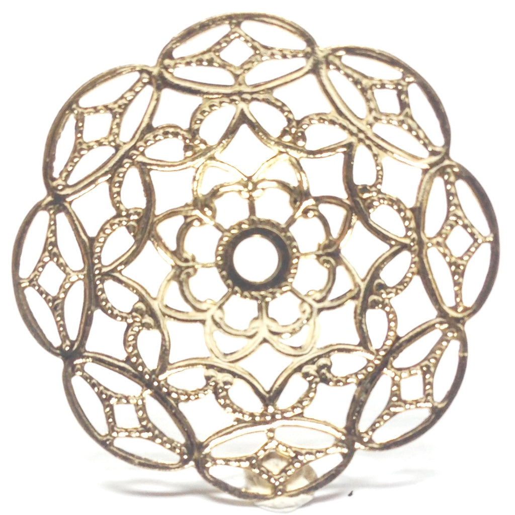 28MM Goldtone Brass Filigree Disc (12 pieces)