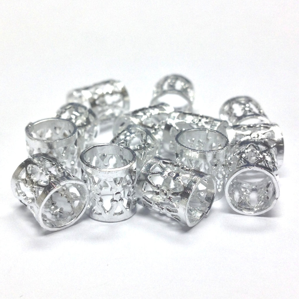 9X7MM Silvertone Filigree Tube (72 pieces)