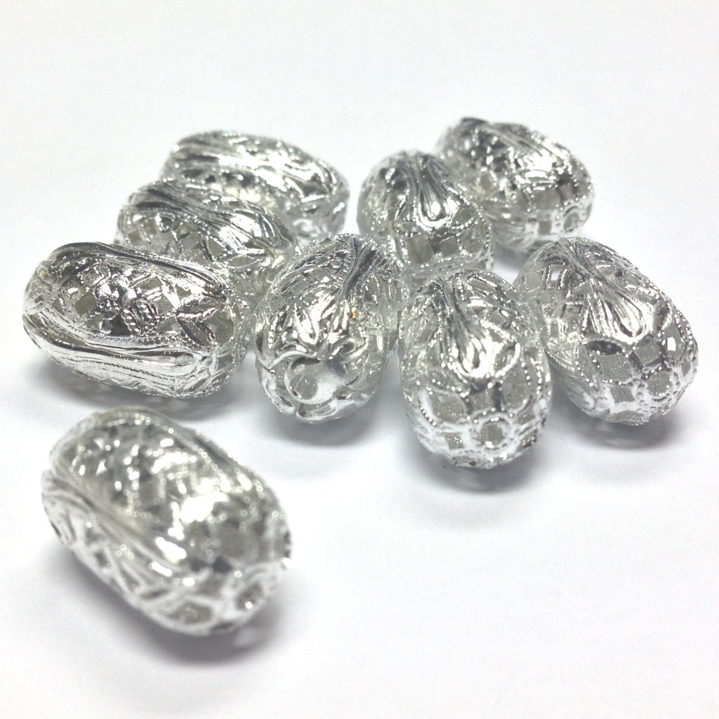 15X10MM Silvertone Filigree Bead (36 pieces)