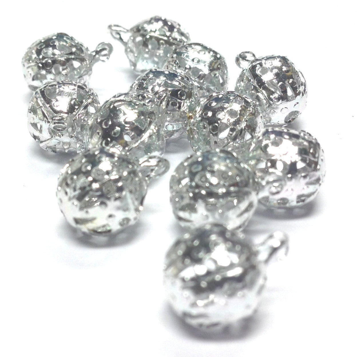 8MM Silvertone Filigree Drop (72 pieces)
