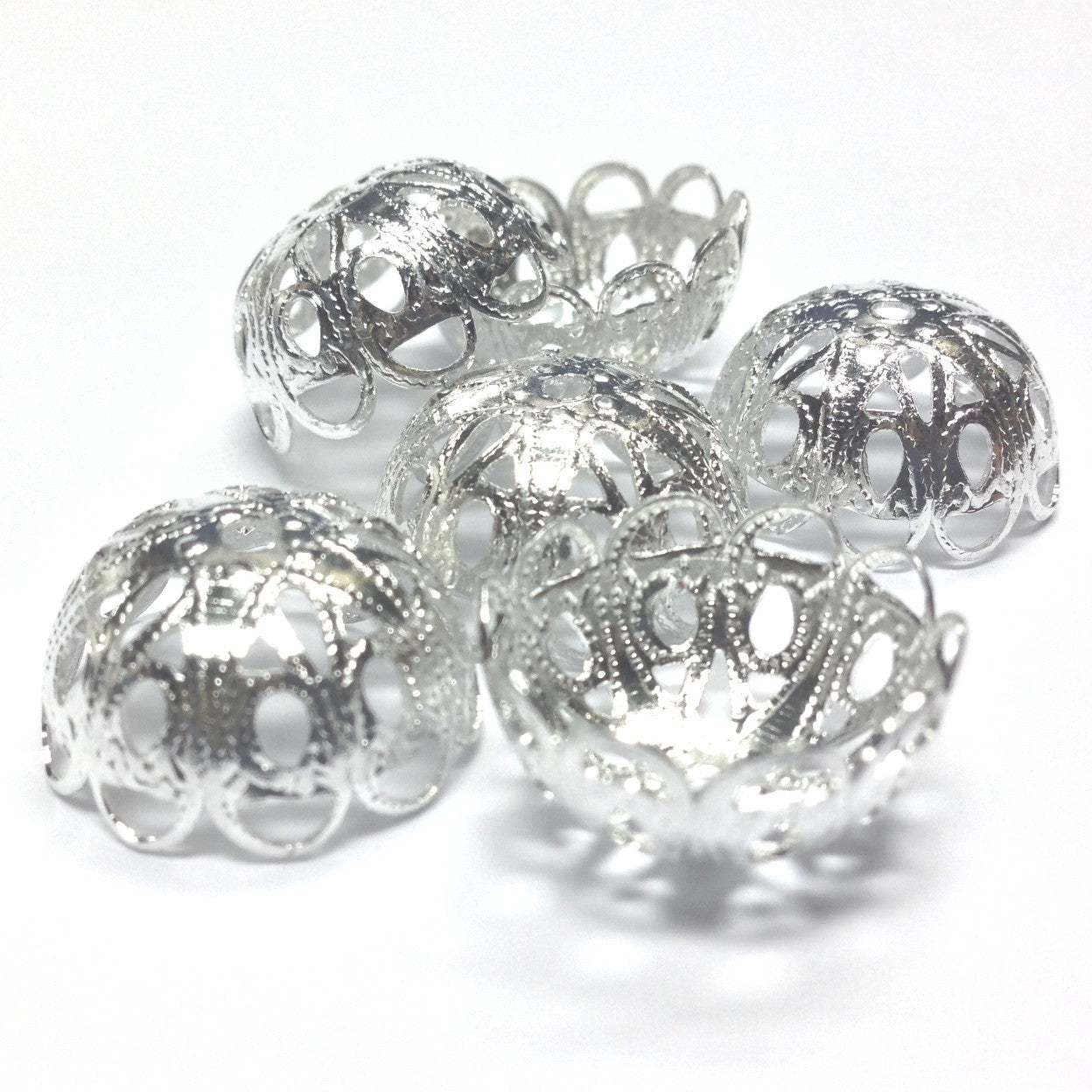 17X8.5MM Silvertone Filigree Cap (36 pieces)