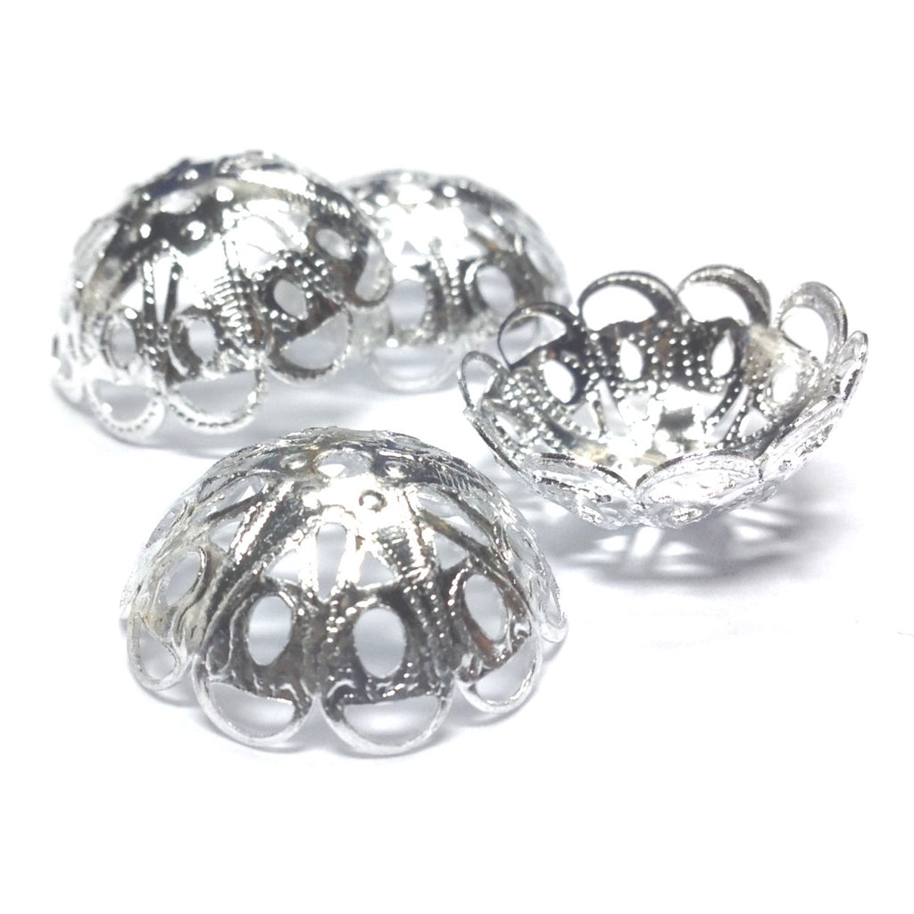 19X7MM Silvertone Filigree Cap (36 pieces)