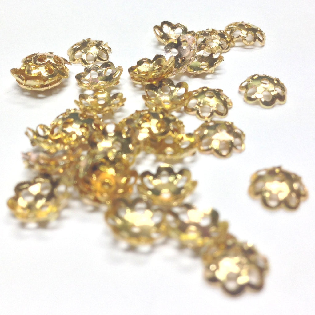 6.5MM Goldtone Filigree Cap (144 pieces)