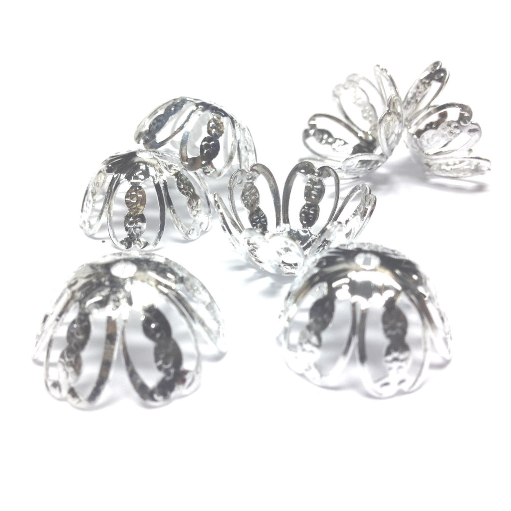 20X10MM Silvertone Filigree Cap (36 pieces)