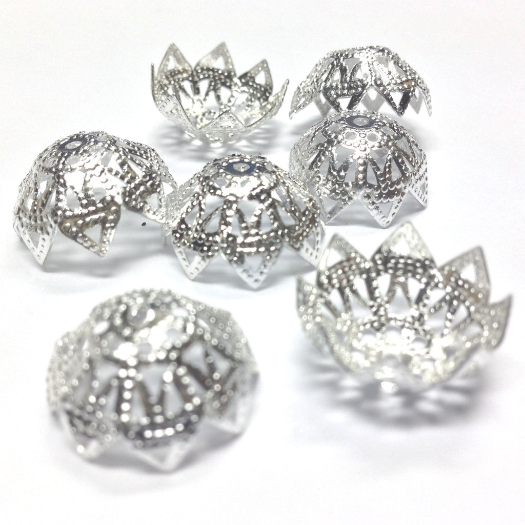 16X8MM Silvertone Filigree Cap (36 pieces)