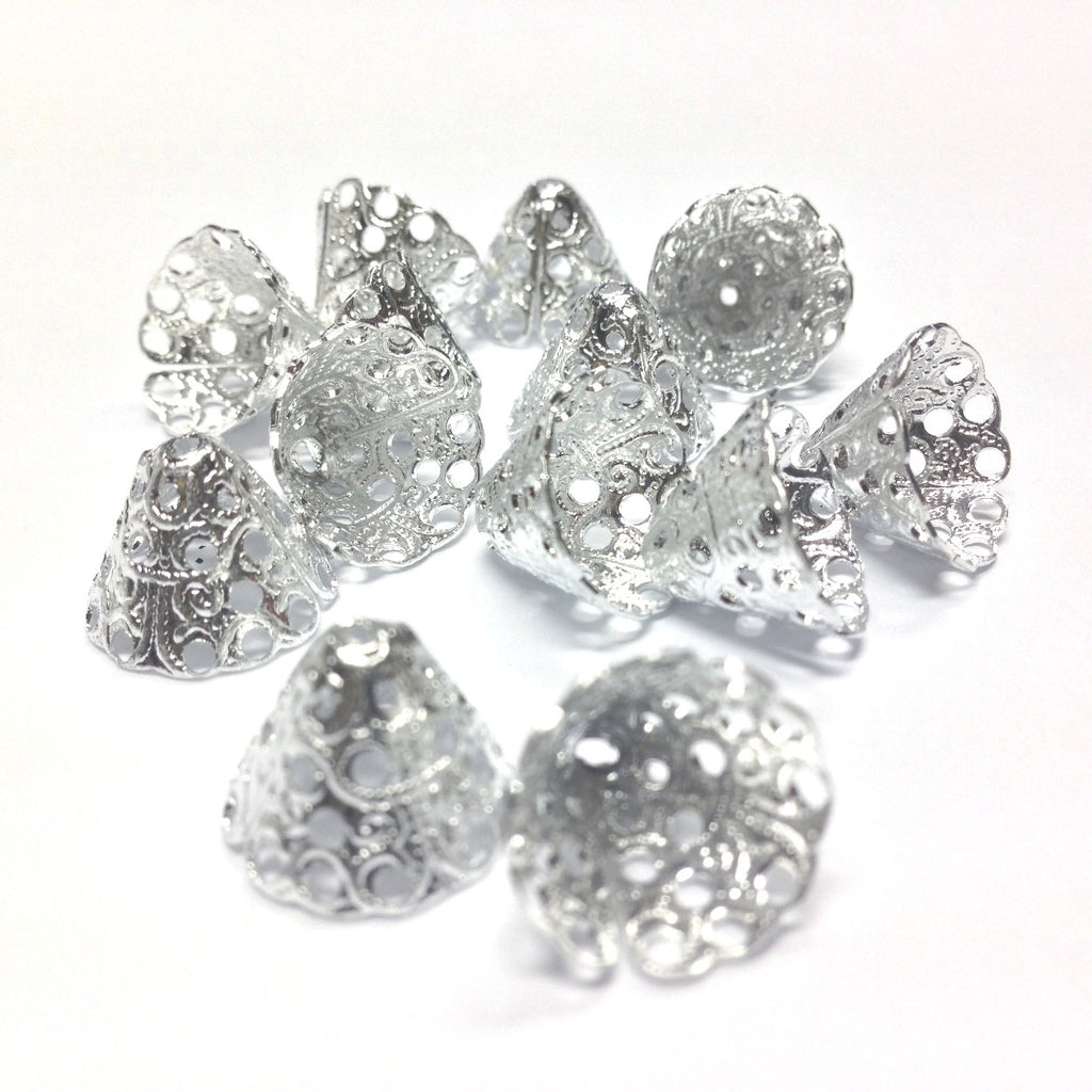 13X10MM Silvertone Filigree Cap (36 pieces)