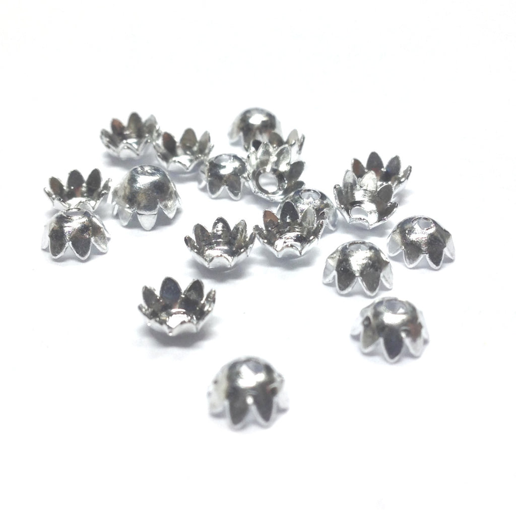 5.5X3MM Silvertone Flower Cap (144 pieces)