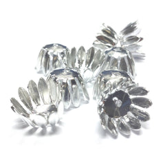 14X8.5MM Silvertone Flower Cap (36 pieces)