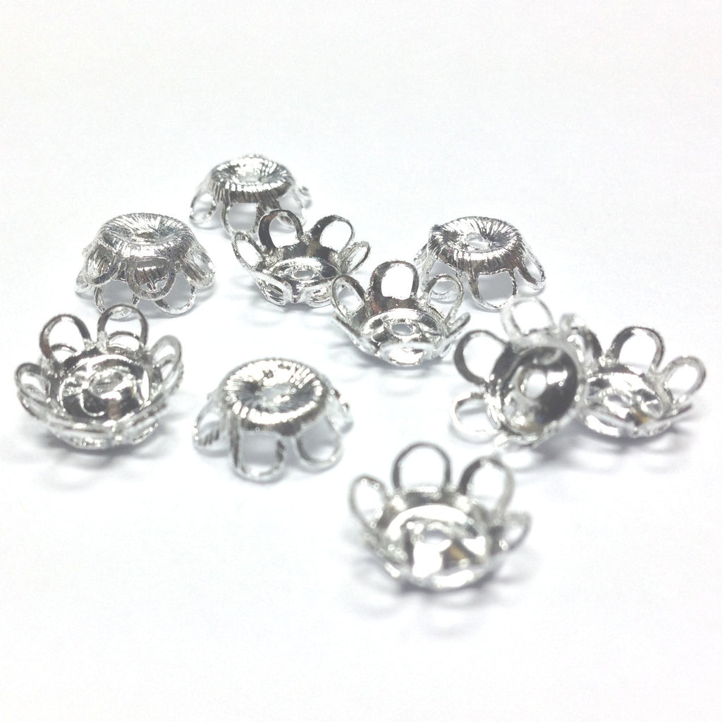 9X3MM Silvertone Filigree Cap (36 pieces)
