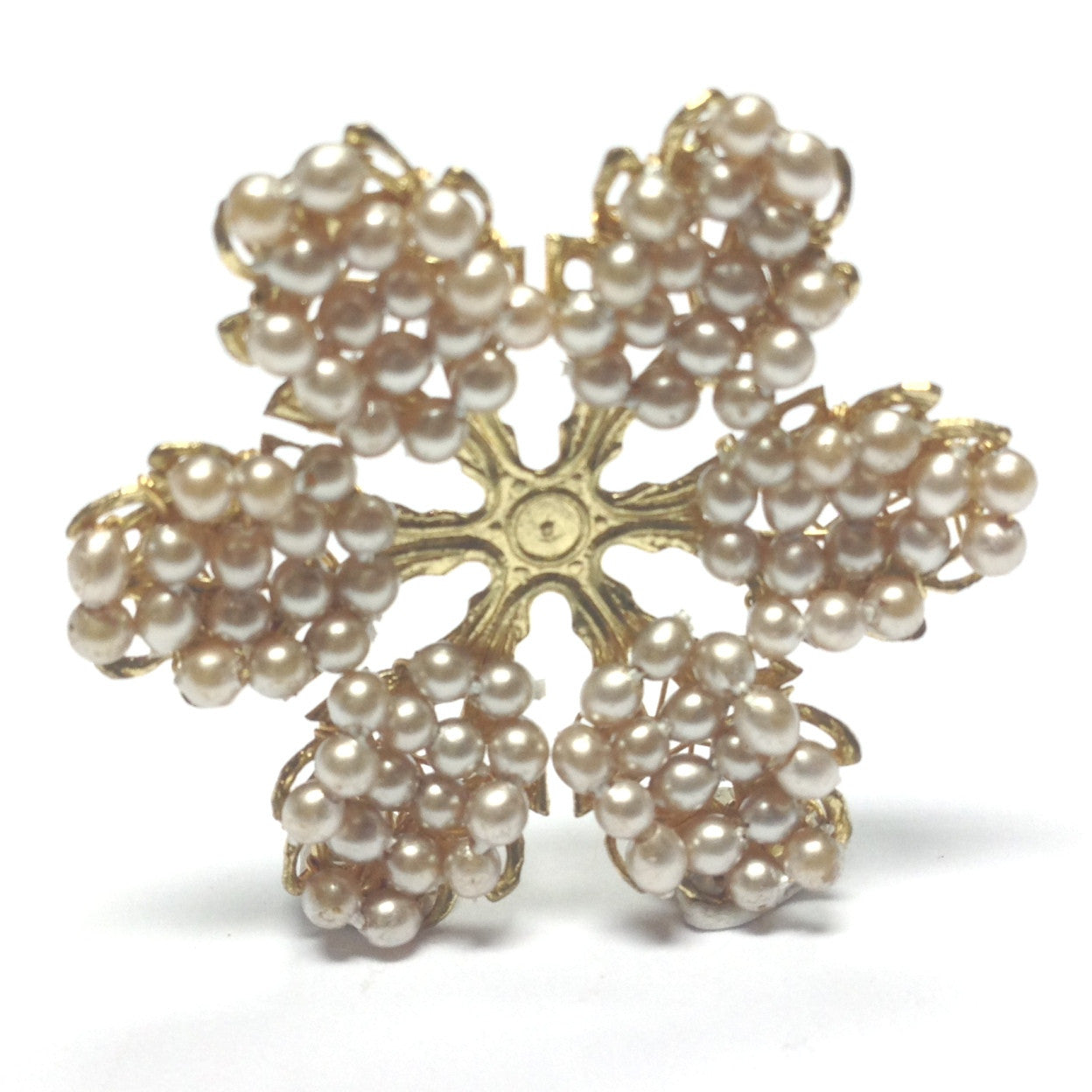 23MM Pearl & Goldtone Flower (2 pieces)