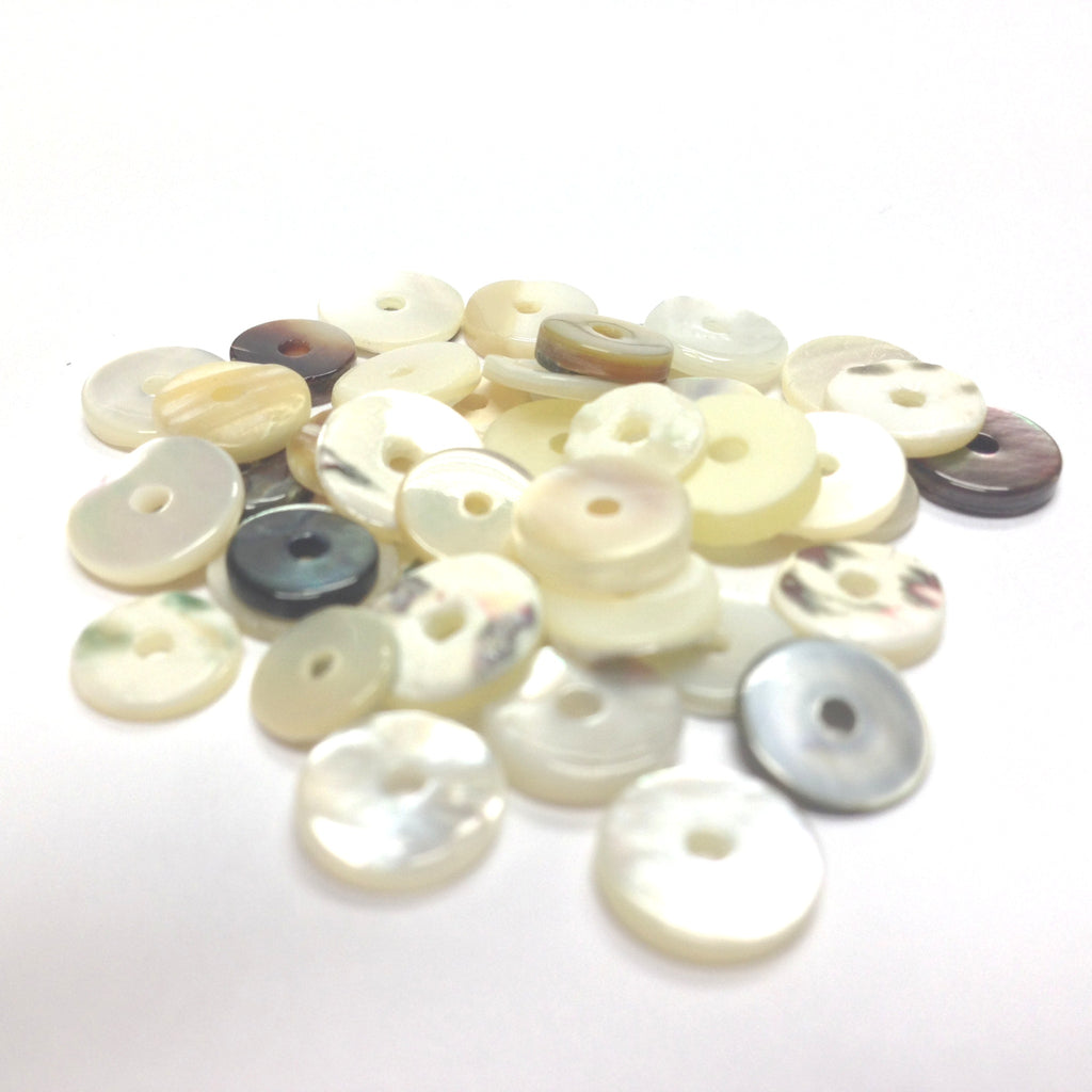 8X1.5MM White MOP Shell Disc Bead (144 pieces)