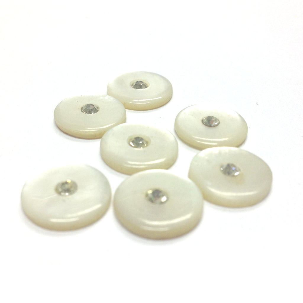 12MM White MOP Shell w/Rhinestone Cab (12 pieces)