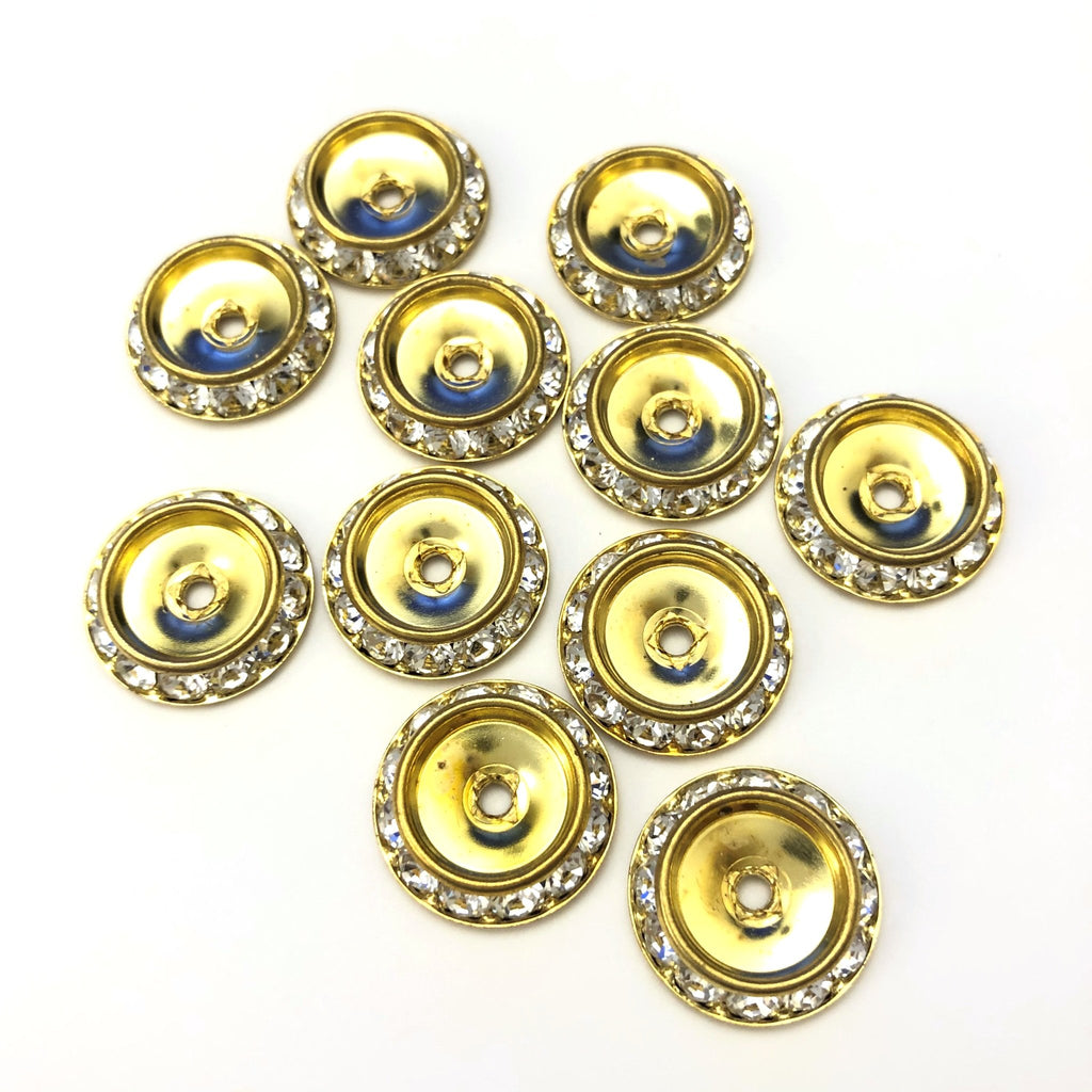 15MM Crystal/Gold R-Stone Slant Rondel (24 or 144 pieces)