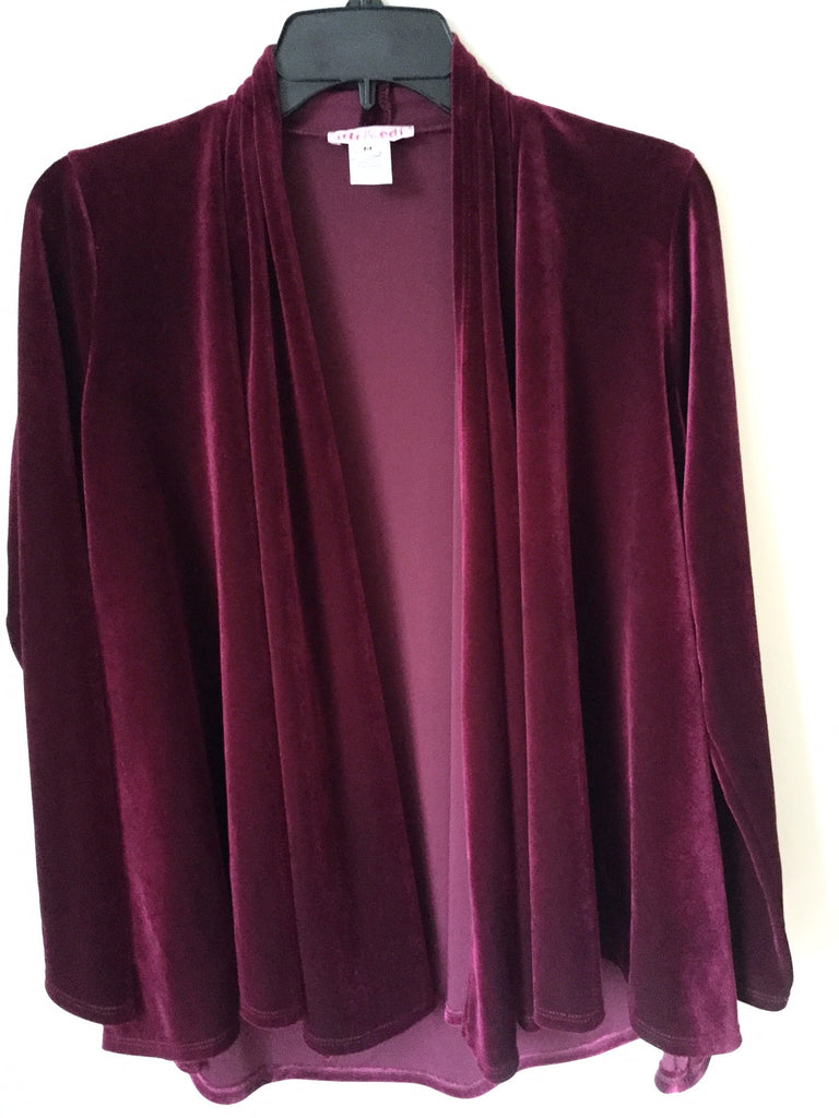Drape Front Jacket~Red Wine Velour - ali and edi - 1