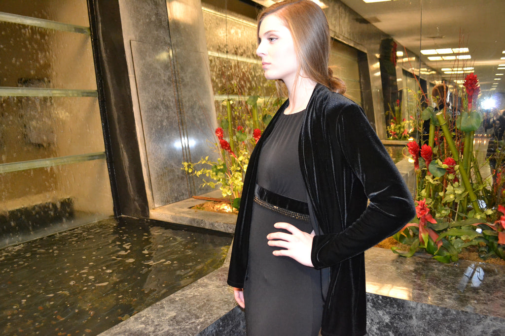 Drape Front Jacket~Black Velour - ali and edi - 2