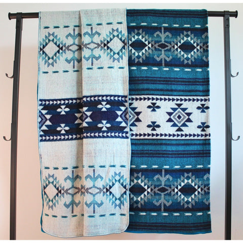 Alpaca Blanket: Andean Design - Deep Lake