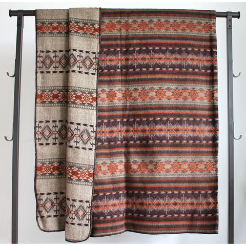 Alpaca Blanket: Andean Design - Orange Chocolate