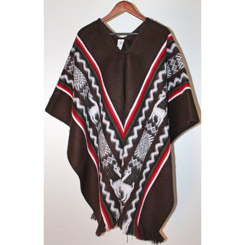 Alpaca Poncho: Andean Design - Brown