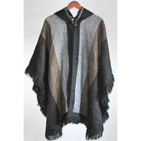 Alpaca Poncho: Hooded Fringe - Grey/Brown/Black