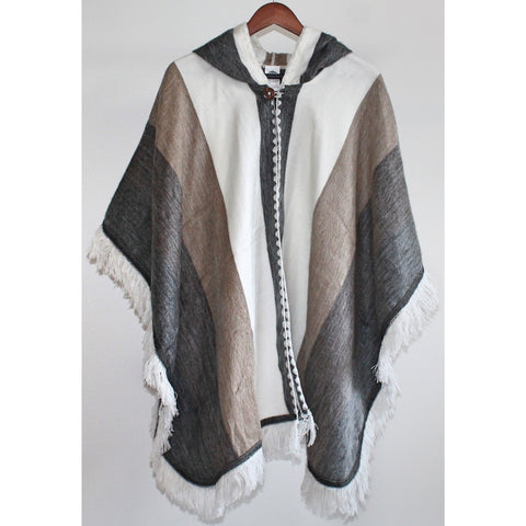 Alpaca Poncho: Hooded Fringe - Ivory/Brown/Grey