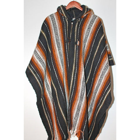 Alpaca Poncho: Hooded Striped - Black/Brown/Mustard
