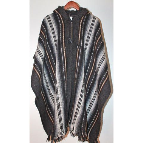 Alpaca Poncho: Hooded Striped - Dark Grey/LightGrey/Brown
