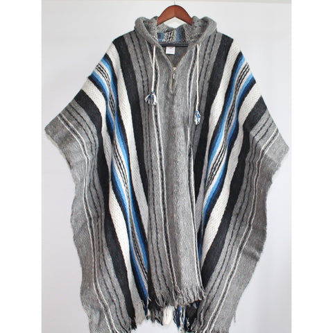 Alpaca Poncho: Hooded Striped - Grey/Black/Blue