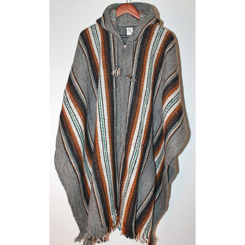 Alpaca Poncho: Hooded Striped - Grey/Mustard/Green