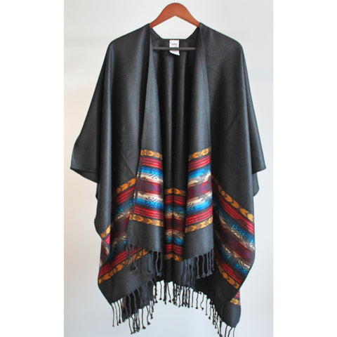 Fringed Poncho - Black (Salmon and Mustard)
