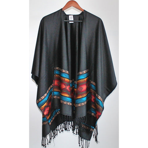 Fringed Poncho - Black (Salmon and Turquoise)