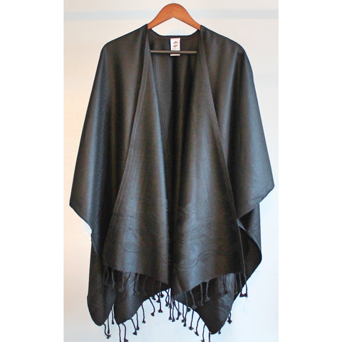 Copy of Fringed Poncho - Black on Black (Floral)