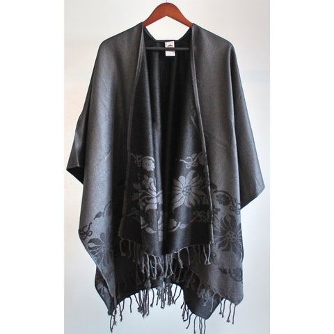 Fringed Poncho - Charcoal/Black (Floral)
