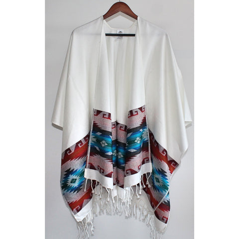 Fringed Poncho - Ivory (Blue and Red)