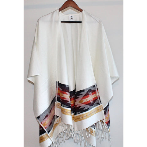 Fringed Poncho - Ivory (Salmon and Mustard)