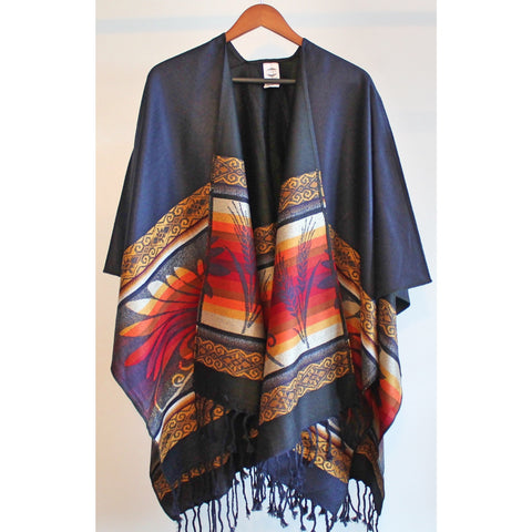 Fringed Poncho - Midnight Blue/Black (Harvest)
