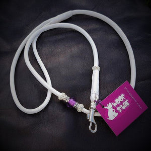 Bling Leather dog show lead (Nickel/silver bling)